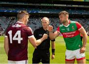 25 July 2021; The two captains, Aidan O'Shea and Shane Walsh of Galway, greet each other in front of referee Conor Lane before the Connacht GAA Senior Football Championship Final match between Galway and Mayo at Croke Park in Dublin. Photo by Ray McManus/Sportsfile
