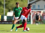 25 July 2021; Romeo Parkes of Sligo Rovers in action against Darragh Crowley of Cork City during the FAI Cup First Round match between Sligo Rovers and Cork City at The Showgrounds in Sligo. Photo by Michael P Ryan/Sportsfile