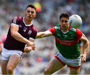 25 July 2021; Shane Walsh of Galway in action against Lee Keegan of Mayo during the Connacht GAA Senior Football Championship Final match between Galway and Mayo at Croke Park in Dublin. Photo by Ray McManus/Sportsfile