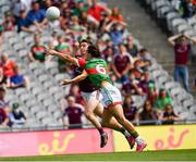 25 July 2021; Johnny Heaney of Galway in action against Oisín  Mullen of Mayo during the Connacht GAA Senior Football Championship Final match between Galway and Mayo at Croke Park in Dublin. Photo by Ray McManus/Sportsfile
