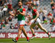 25 July 2021; Matthew Ruane, right, and Aidan O'Shea of Mayo celebrate the awarding of a penalty during the Connacht GAA Senior Football Championship Final match between Galway and Mayo at Croke Park in Dublin. Photo by Harry Murphy/Sportsfile