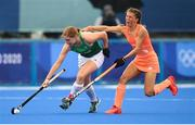 26 July 2021; Katie Mullan of Ireland in action against Maria Verschoor of Netherlands during the women's pool A group stage match between Ireland and Netherlands at the Oi Hockey Stadium during the 2020 Tokyo Summer Olympic Games in Tokyo, Japan. Photo by Stephen McCarthy/Sportsfile