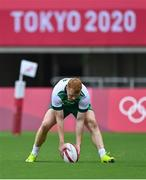 26 July 2021; Gavin Mullin of Ireland scores his side's first try during the rugby sevens men's pool C match between Ireland and South Africa at the Tokyo Stadium during the 2020 Tokyo Summer Olympic Games in Tokyo, Japan. Photo by Brendan Moran/Sportsfile
