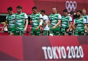26 July 2021; Ireland players, from left, Greg O'Shea, Ian Fitzpatrick, Jordan Conroy, Adam Leavy, Foster Horan and Mark Roche leave the pitch after the rugby sevens men's pool C match between Ireland and South Africa at the Tokyo Stadium during the 2020 Tokyo Summer Olympic Games in Tokyo, Japan. Photo by Brendan Moran/Sportsfile