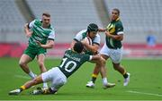26 July 2021; Foster Horan of Ireland is tackled by Kurt-Lee Arendze of South Africa during the rugby sevens men's pool C match between Ireland and South Africa at the Tokyo Stadium during the 2020 Tokyo Summer Olympic Games in Tokyo, Japan. Photo by Brendan Moran/Sportsfile