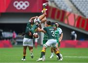 26 July 2021; Selvyn Davids of South Africa is upended as he catches a restart during the rugby sevens men's pool C match between Ireland and South Africa at the Tokyo Stadium during the 2020 Tokyo Summer Olympic Games in Tokyo, Japan. Photo by Brendan Moran/Sportsfile