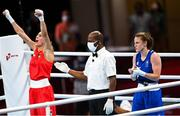 26 July 2021; Michaela Walsh of Ireland applauds as her opponent Irma Testa of Italy is declared the winner after their Women's Featherweight Round of 16 bout at the Kokugikan Arena during the 2020 Tokyo Summer Olympic Games in Tokyo, Japan. Photo by Ramsey Cardy/Sportsfile