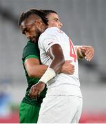 26 July 2021; Matai Leuta of United States and Jordan Conroy of Ireland following the rugby sevens men's pool C match between Ireland and USA at the Tokyo Stadium during the 2020 Tokyo Summer Olympic Games in Tokyo, Japan. Photo by Stephen McCarthy/Sportsfile