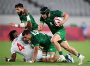 26 July 2021; Foster Horan of Ireland on his way to scoring a try during the rugby sevens men's pool C match between Ireland and USA at the Tokyo Stadium during the 2020 Tokyo Summer Olympic Games in Tokyo, Japan. Photo by Stephen McCarthy/Sportsfile