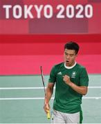 26 July 2021; Nhat Nyugen of Ireland celebrates a point during the men's singles group play stage match at the Musashino Forest Sport Plaza during the 2020 Tokyo Summer Olympic Games in Tokyo, Japan. Photo by Ramsey Cardy/Sportsfile