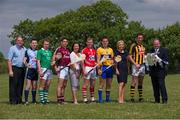16 July 2013; Pictured are, from left to right, John Rafferty, Centra, Niall Corcoran, Dublin, Paul Browne, Limerick, Fergal Moore, Galway, Karen Maloney, Etihad, Lorcan McLoughlin, Cork, John Conlon, Clare, Judy Mullane, Liberty Insurance, Michael Fennelly, Kilkenny, and Uachtarán Chumann Lúthchleas Gael Liam Ó Néill in attendance at the official launch of the GAA 2013 GAA Hurling Championship All-Ireland Series. Loughgeorge GAA Training Centre, Galway. Picture credit: Ray McManus / SPORTSFILE