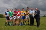 16 July 2013; Pictured are, from left to right, Niall Corcoran, Dublin, Paul Browne, Limerick, Fergal Moore, Galway, Lorcan McLoughlin, Cork, John Conlon, Clare, Michael Fennelly, Kilkenny, John Rafferty, Centra, and Uachtarán Chumann Lúthchleas Gael Liam Ó Néill in attendance at the official launch of the GAA 2013 GAA Hurling Championship All-Ireland Series. Loughgeorge GAA Training Centre, Galway. Picture credit: Ray McManus / SPORTSFILE