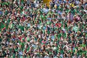 14 July 2013; Supporters shield their eyes from the sun during the game. Munster GAA Hurling Senior Championship Final, Limerick v Cork, Gaelic Grounds, Limerick. Picture credit: Diarmuid Greene / SPORTSFILE
