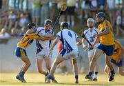 18 July 2013; Kieran Power and Shane Roche, right, Waterford, in action against Daire Keane, left, and Cathal O'Connell, Clare. Bord Gáis Energy Munster GAA Hurling Under 21 Championship Semi-Final, Clare v Waterford, Walsh Park, Waterford. Picture credit: Brian Lawless / SPORTSFILE