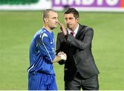 18 July 2013; Derry City manager Declan Devine and goalkeeper Gerard Doherty after the game. UEFA Europa League Second Qualifying Round, 1st leg, Trabzonspor v Derry City, Huseyin Avni Aker Stadium, Trabzon, Turkey. Picture credit: SPORTSFILE
