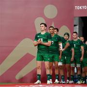 26 July 2021; Ireland captain Billy Dardis and team-mates before the rugby sevens men's pool C match between Ireland and USA at the Tokyo Stadium during the 2020 Tokyo Summer Olympic Games in Tokyo, Japan. Photo by Stephen McCarthy/Sportsfile