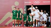 26 July 2021; United States captain Madison Hughes and Ireland captain Billy Dardis prepare to lead their side's out before the rugby sevens men's pool C match between Ireland and USA at the Tokyo Stadium during the 2020 Tokyo Summer Olympic Games in Tokyo, Japan. Photo by Stephen McCarthy/Sportsfile