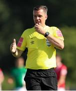 25 July 2021; Referee Rob Harvey during the FAI Cup First Round match between Sligo Rovers and Cork City at The Showgrounds in Sligo. Photo by Michael P Ryan/Sportsfile