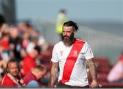25 July 2021; A Sligo Rovers supporter during the FAI Cup First Round match between Sligo Rovers and Cork City at The Showgrounds in Sligo. Photo by Michael P Ryan/Sportsfile