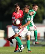 25 July 2021; Beineon O'Brien-Whitmarsh with team-mate Cian Coleman of Cork City in action against Shane Blaney of Sligo Rovers during the FAI Cup First Round match between Sligo Rovers and Cork City at The Showgrounds in Sligo. Photo by Michael P Ryan/Sportsfile
