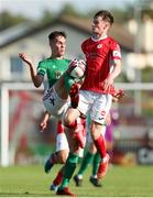 25 July 2021; Cian Coleman of Cork City in action against Mark Byrne of Sligo Rovers during the FAI Cup First Round match between Sligo Rovers and Cork City at The Showgrounds in Sligo. Photo by Michael P Ryan/Sportsfile