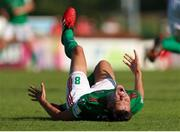 25 July 2021; Cian Coleman of Cork City on the ground after a heavy challenge during the FAI Cup First Round match between Sligo Rovers and Cork City at The Showgrounds in Sligo. Photo by Michael P Ryan/Sportsfile