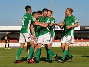 25 July 2021; Dylan McGlade of Cork City, second from left celebrates with team-mates after scoring his sides second goal from a penalty during the FAI Cup First Round match between Sligo Rovers and Cork City at The Showgrounds in Sligo. Photo by Michael P Ryan/Sportsfile