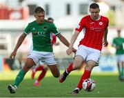 25 July 2021; Garry Buckley of Sligo Rovers in action against Beineon O'Brien-Whitmarsh of Cork City during the FAI Cup First Round match between Sligo Rovers and Cork City at The Showgrounds in Sligo. Photo by Michael P Ryan/Sportsfile
