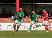 25 July 2021; Dylan McGlade of Cork City turns to celebrate after scoring his sides second goal from a penalty during the FAI Cup First Round match between Sligo Rovers and Cork City at The Showgrounds in Sligo. Photo by Michael P Ryan/Sportsfile