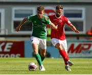 25 July 2021; Darragh Crowley of Cork City in action against Greg Bolger of Sligo Rovers during the FAI Cup First Round match between Sligo Rovers and Cork City at The Showgrounds in Sligo. Photo by Michael P Ryan/Sportsfile