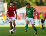 25 July 2021; Steven Beattie of Cork City in action against Jordan Gibson of Sligo Rovers during the FAI Cup First Round match between Sligo Rovers and Cork City at The Showgrounds in Sligo. Photo by Michael P Ryan/Sportsfile