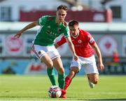 25 July 2021; Cian Coleman of Cork City in action against Regan Donelon of Sligo Rovers during the FAI Cup First Round match between Sligo Rovers and Cork City at The Showgrounds in Sligo. Photo by Michael P Ryan/Sportsfile