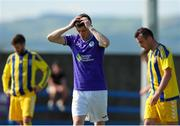 24 July 2021; Johnny Dunleavy of Finn Harps reacts to a missed chance during the FAI Cup First Round match between Fairview Rangers and Finn Harps at Fairview Rangers AFC in Limerick. Photo by Michael P Ryan/Sportsfile