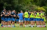 26 July 2021; Players huddle during Leinster Rugby squad training at UCD in Dublin. Photo by Harry Murphy/Sportsfile