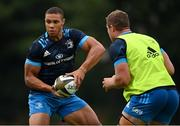 26 July 2021; Adam Byrne, left, and Scott Penny during Leinster Rugby squad training at UCD in Dublin. Photo by Harry Murphy/Sportsfile