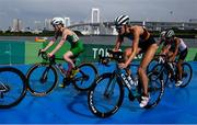 27 July 2021; Carolyn Hayes of Ireland, left, and Anabel Knoll of Germany in action during the Women's Triathlon at the Odaiba Marine Park during the 2020 Tokyo Summer Olympic Games in Tokyo, Japan. Photo by Stephen McCarthy/Sportsfile