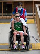 27 July 2021; Carolyn Hayes of Ireland is assisted by a medic after the Women's Triathlon at the Odaiba Marine Park during the 2020 Tokyo Summer Olympic Games in Tokyo, Japan. Photo by Stephen McCarthy/Sportsfile