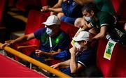 27 July 2021; Irish boxing backroom team members, from left, Coach John Conlan, Sports performance coach Kevin McManamon, and High performance director Bernard Dunne at the Kokugikan Arena during the 2020 Tokyo Summer Olympic Games in Tokyo, Japan.     Photo by Ramsey Cardy/Sportsfile