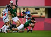 27 July 2021; Mark Roche of Ireland dives over to score his side's first try during the Men's Rugby Sevens quarter-final/9th place play-off at the Tokyo Stadium during the 2020 Tokyo Summer Olympic Games in Tokyo, Japan. Photo by Stephen McCarthy/Sportsfile