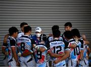 27 July 2021; Republic of Korea assistant coach Charles Louw speaks to players following the Men's Rugby Sevens 9th place play-off match between Ireland and Republic of Korea at the Tokyo Stadium during the 2020 Tokyo Summer Olympic Games in Tokyo, Japan. Photo by Stephen McCarthy/Sportsfile