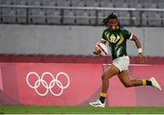 27 July 2021; Stedman Gans of South Africa during the Men's Rugby Sevens quarter-final match between South Africa and Argentina at the Tokyo Stadium during the 2020 Tokyo Summer Olympic Games in Tokyo, Japan. Photo by Stephen McCarthy/Sportsfile