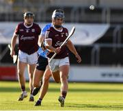 27 July 2021; Jason O'Donoghue of Galway in action against Cian O Cathasaigh of Dublin during the Leinster GAA U20 Hurling Championship Final match between Dublin and Galway at MW Hire O'Moore Park in Portlaoise, Laois. Photo by Matt Browne/Sportsfile