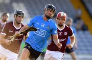 27 July 2021; Seamus Fenton of Dublin in action against Eoghan Geraghty and Shane Quirke of Galway during the Leinster GAA U20 Hurling Championship Final match between Dublin and Galway at MW Hire O'Moore Park in Portlaoise, Laois. Photo by Matt Browne/Sportsfile