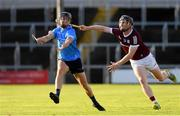 27 July 2021; Seamus Fenton of Dublin in action against Diarmuid Kilcommins of Galway during the Leinster GAA U20 Hurling Championship Final match between Dublin and Galway at MW Hire O'Moore Park in Portlaoise, Laois. Photo by Matt Browne/Sportsfile