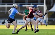 27 July 2021; Niall Collins of Galway in action against Davy Crowe of Dublin during the Leinster GAA U20 Hurling Championship Final match between Dublin and Galway at MW Hire O'Moore Park in Portlaoise, Laois. Photo by Matt Browne/Sportsfile