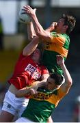 25 July 2021; David Moran of Kerry wins possession ahead of Brian Hurley of Cork during the Munster GAA Football Senior Championship Final match between Kerry and Cork at Fitzgerald Stadium in Killarney, Kerry. Photo by Piaras Ó Mídheach/Sportsfile