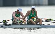 28 July 2021; Ronan Byrne, left, and Philip Doyle of Ireland after finishing 4th in their Men's Double Sculls final B at the Sea Forest Waterway during the 2020 Tokyo Summer Olympic Games in Tokyo, Japan. Photo by Seb Daly/Sportsfile