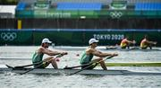 28 July 2021; Ronan Byrne, left, and Philip Doyle of Ireland on their way to finishing 4th in the Men's Double Sculls final B at the Sea Forest Waterway during the 2020 Tokyo Summer Olympic Games in Tokyo, Japan. Photo by Seb Daly/Sportsfile