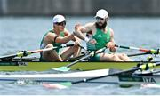 28 July 2021; Fintan McCarthy, left, and Paul O'Donovan of Ireland after winning the Men's Lightweight Double Sculls semi-final A/B at the Sea Forest Waterway during the 2020 Tokyo Summer Olympic Games in Tokyo, Japan. Photo by Seb Daly/Sportsfile