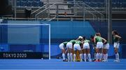 28 July 2021; Ireland players huddle after conceding a second goal during the women's pool A group stage match between Germany and Ireland at the Oi Hockey Stadium during the 2020 Tokyo Summer Olympic Games in Tokyo, Japan. Photo by Brendan Moran/Sportsfile